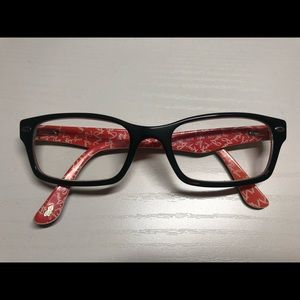 Ray Ban RX5206 Glasses - Top Black on Texture Red